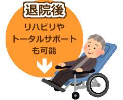 「退院後」リハビリやトータルサポートも可能